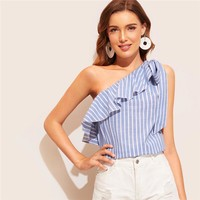 Knotted Flounce One Shoulder Striped Blouse Women Tops Sleeveless Sexy Top Vacation Cotton Ladies Tops