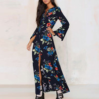 Black Floral Print Lace-Up Split Maxi Dress