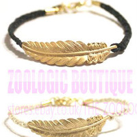ASOS Friendship black+white Wristband 2 Bracelet set Gold feather charm QUALITY