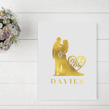 Wedding Silhouette Print, Mr and Mrs, Wedding Signs, Wedding Decoration, Real Gold Foil Print, Wedding Print, Gold Foil Sign, Love Print.