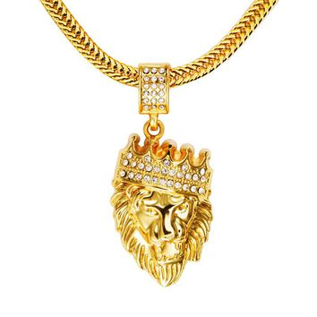 NYUK Mens' Hip Hop Jewelry Iced Out Gold Fashion Bling Lion Head Pendant Men Necklace Gold Filled For Men Women Gift Present