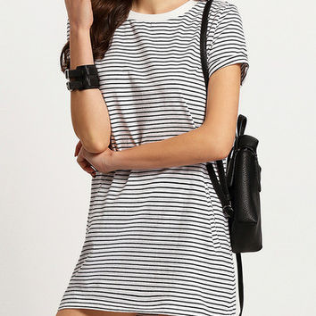 Crew Neck Short Sleeve Pockets Stripe Dress