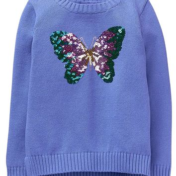 Gymboree Little Girls' Violet Purple Sequin Popover Sweater Size:L 10-12