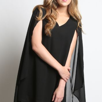 Kori America V-Neck Shift Dress with Cape Back