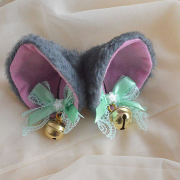 Kitten play neko girl clip on cat ears with lace and ribbon bows and bell - lolita cosplay costume - accessories