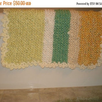 ON SALE TODAY - Rag Rug Upcycled Handmade Knit Cottage Chic Summer Bathroom Rag Rug, nursery mat, nursery bedroom, Pet mat, Sale 30x31