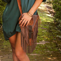 Brown Leather Fringe Bag Hip Chic Spring Fashion Hippie Chic Dangling Fringe Some Upcycled Materials Initial Bezel for Personalizing