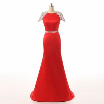 Long Evening Dress Backless Sheer Sleeveless Mermaid Prom Dress With Crystals Formal Dresses