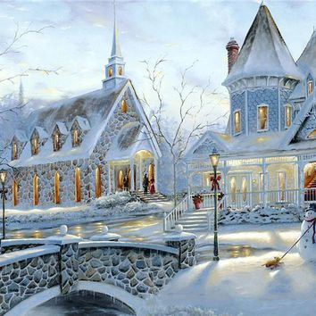 New 5D DIY Diamond Paintings Cottages Cross Stitch Beadwork Sew on Rhinestone Euopean Style Castle Winter Snow Resin Hobby Craft