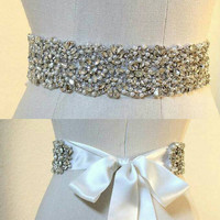 Crystal, bling, bridal belt, sash, rhinestone sash