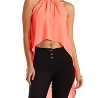 Fiery Coral Chain-Embellished High-Low Halter Top by Charlotte Russe