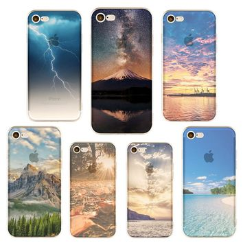 Phone Cases Landscape Scenery Ultra Thin Soft Silicone TPU  Mountain City Tower Scenery Phone Case for iphone 6 6s 6Plus 7 7s 7