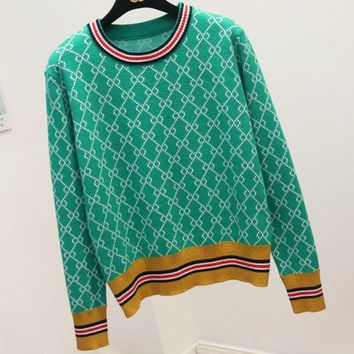 ONETOW GUCCI new autumn and winter wild round neck striped sweater knit shorts Green