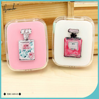Lymouko New Style Noble Perfume Bottles Pattern with Mirror Contact Lens Case for Women Gift Kit Holder Contact Lenses Box