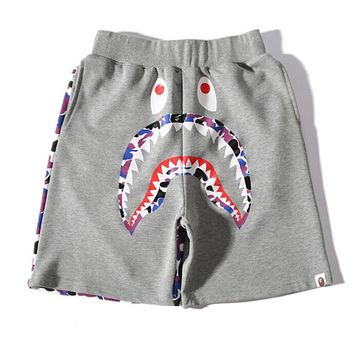 BAPE AAPE Trending Women Men Stylish Shark Mouth Print Purple Camouflage Sports Shorts Grey I13552-1
