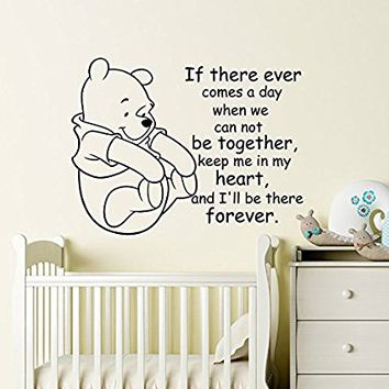 Winnie The Pooh Wall Decal Quote Art Decals Vinyl Stickers Baby Nursery Room Kids Wall Decor Mural Interior Design MN1036