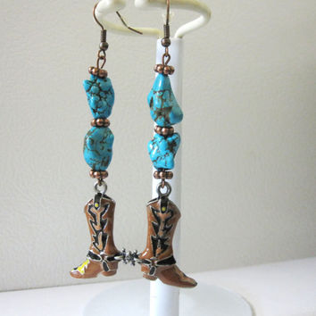 Western Jewelry Turquoise Blue Cowboy Boot Earrings Copper Cowgirl Bling