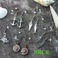Nautical Earrings: Nautical Earrings, bone fish, anchor, shell, sailboat, fish, silver , copper, pewter