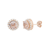 18K Rose Gold Sterling Silver Round Halo Morganite Lab Diamond Post Earring