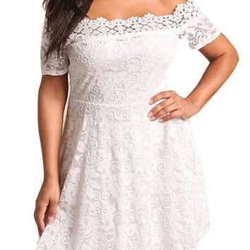 Off Shoulder Flared White Lace Plus Size Dress