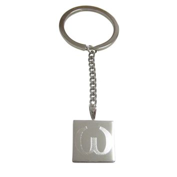Silver Toned Etched Greek Lowercase Letter Omega Pendant Keychain