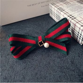 GUCCI cloth bow clip hair clip top folder red and green grid bangs clip hair accessories Duckbill clip models