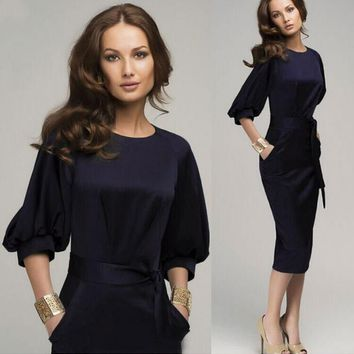 Womens Modern Party Office Casual Evening Dress