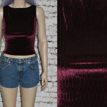 90s Crop Top Velvet S M Tank Shirt Burnout Crushed Gothic Cyber Goth Festival Hipster Club Kid Grunge Wine Burgundy Black Red Textured BEBE