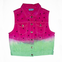 Watermelon Dyed Denim Vest