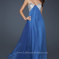 Sequin Strapless Prom Dress by La Femme