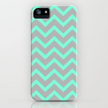 Tiffany Mint Grey Zigzag Chevron Pattern iPhone Case by Rex Lambo | Society6