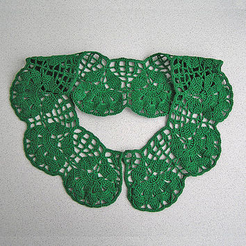 Green lace collar Crochet lace cotton necklace Handmade crocheted necklace Victorian collars dress Neck accessory Bibs Collars Womens lace