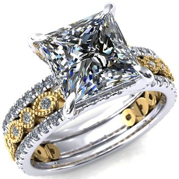 Lizette Princess/Square Moissanite 4 Claw Prong 3/4 Eternity Milgrain Diamond Shank Engagement Ring