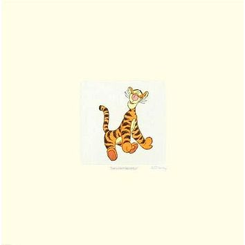 Tigger - Limited Edition Etching with Hand Tinted Coloring on Paper by Disney Studios