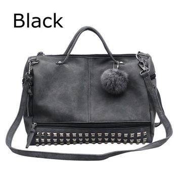 Family Friends party Board game Factory Direct Vintage For Women Bag Nubuck Leather Female Shoulder Bag Rivet Handbags Ball Messenger Bag Cheap Sac 2018 D401 AT_41_3