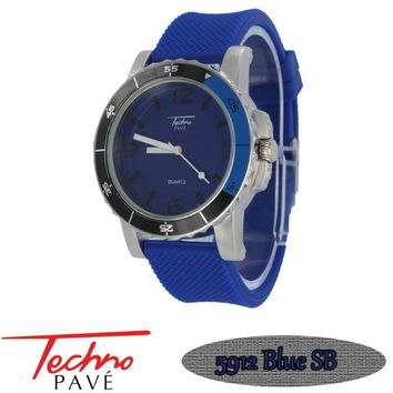 Techno Pave Sport Silver Blue Rubber Watch