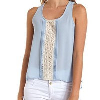 Pleated Crochet Front Tank: Charlotte Russe