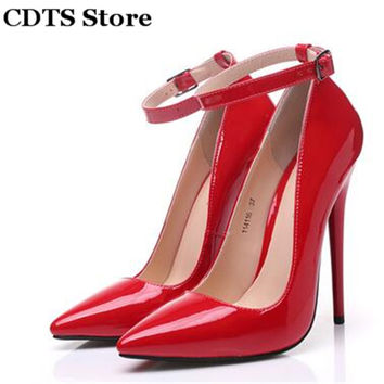 CDTS:35-45 Crossdresser zapatos 2016 novelty sexy high-heeled japanned leather 14cm thin heels pointed toe pumps women's shoes
