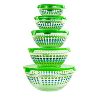 10-piece Dotted Glass Lunch Bowls Healthy Food Storage Containers Set with Green Lids