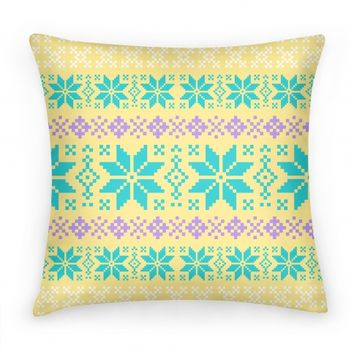 Sweater Print Pillow Yellow