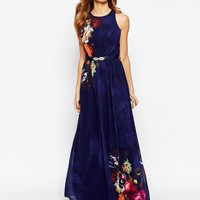 Little Mistress Mirror Floral Belted Maxi Dress