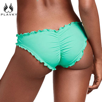 PLAVKY Women Swimwear Bikini Bottoms Bow Bottom Brazilian Cheeky Bikini Bottom Swimsuit Thong Biquini Bikinis
