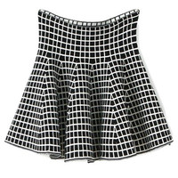 Plaid Pattern Flouncing Knit Skirt