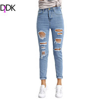 DIDK Womens Fitness Clothes Blue Mid Waist Button Fly Ripped Denim Jeans Ladies Slim Trousers Women Fashion Pants