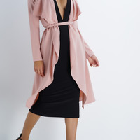 Romance Belted Trench Coat - Blush