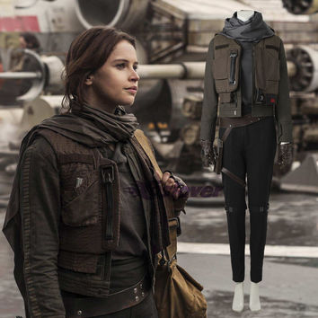Rogue One:A Star Wars Story Cosplay Costume Jyn Erso Outfit Jacket Coat Halloween Party Performance Clothing for Women Clothes