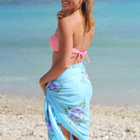 Blue Sarong Beach Cover Up Hibiscus Flower Hand Painted