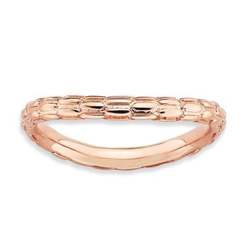 2.25mm Stackable 18K Rose Gold Plated Silver Curved Dragon Skin Band