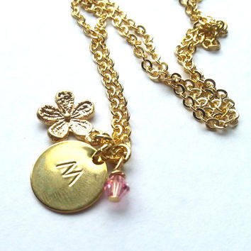 Custom Initial Charm Necklace, gift, wedding jewelry, flower girl gift, sister, daughter, birthday gift, children, kids