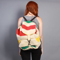 80s HUDSON BAY BACKPACK / Colorful Blanket Wool Rucksack